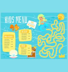 Children menu meal template vector