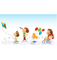 children running friendship graphic vector image