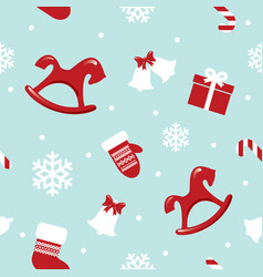 christmas and new year seamless pattern with red vector image