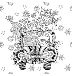 Christmas car gift doodle zentangle vector