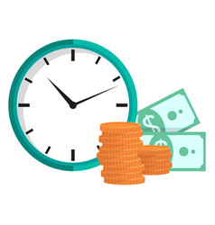 clock with coins and dollars time is money vector image