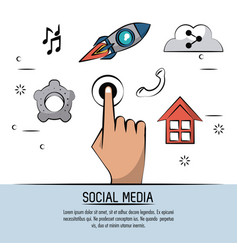 colorful poster of social media with hand touch vector image