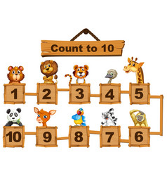 Counting numbers one to ten with animals vector