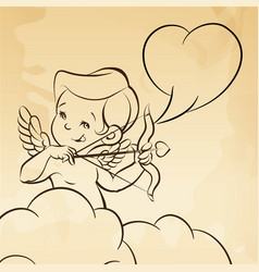 Cupid love silhouette with bow and arrow and vector