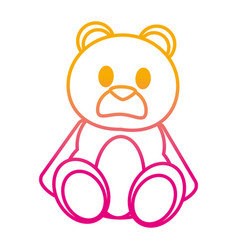 Degraded line bear teddy cute toy childhood vector