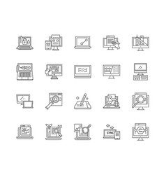 desktop line icons signs set outline vector image