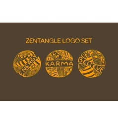 Detailed hand drawn zentangle logo set vector
