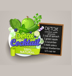 detox cocktail with recipe vector image vector image