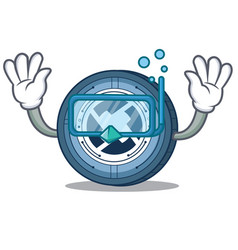 Diving 0x coin character cartoon vector