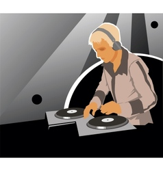 DJ with sound equipment vector image vector image