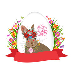 easter egg and rabbit poster with label vector image