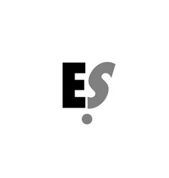 Es e s black white grey alphabet letter logo icon vector
