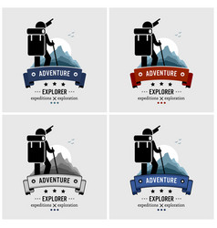 explorer backpacker adventure logo design artwork vector image
