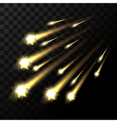 Falling stars on transparent background Space star vector