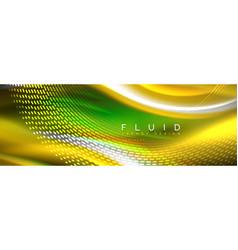 fluid color neon wave lines background neon vector image