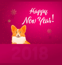 funny dog merry christmas and happy new vector image