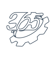Gear machine 365 infinity logo icon design outline vector