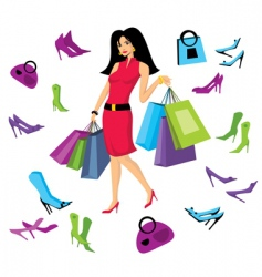 girl with bags vector image