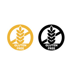 Gluten free label wheat cereal icons vector