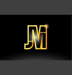 Gold black alphabet letter jm j m logo vector