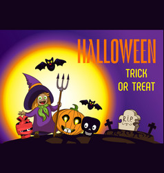 halloween trick or treat concept background vector image