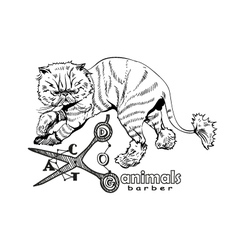 Hand drawn persian cat Barber style vector