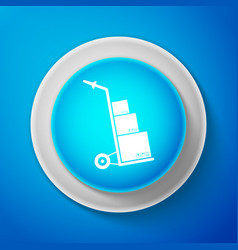 hand truck and boxes icon on blue background vector image