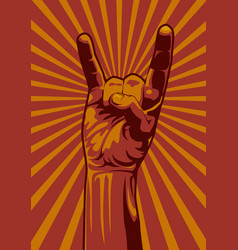 hand up rock vector image