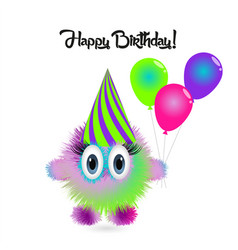 happy birthday card with funny cartoon colorful vector image