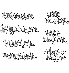 Happy new year wish hand drawn liquid curly vector