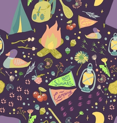 Happy Summer Camp Seamless Pattern vector image
