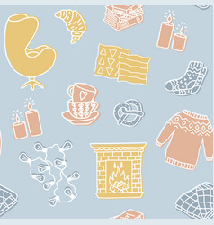 Hygge seamless pattern cute of autumn and winter vector