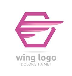 Icon wing hexagon pink design symbol icon vector