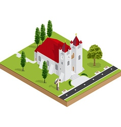 Isometric 3D church building vector image