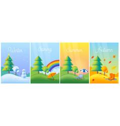 landscape four seasons - winter spring summer vector image