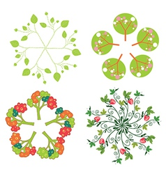 Leaves trees flowers symbols in circle vector image