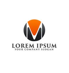 Letter m in circular logo design concept template vector