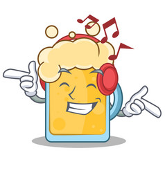 Listening music beer character cartoon style vector