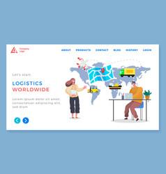 logistics worldwide delivering cargo around world vector image