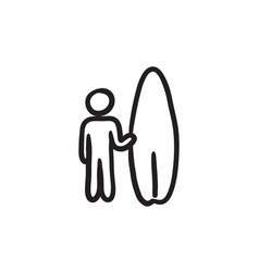 Man with surfboard sketch icon vector