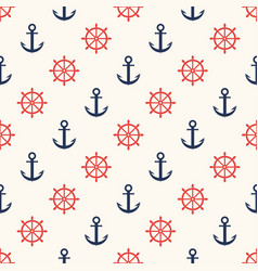 Marine pattern ship helm and anchor navy seamless vector