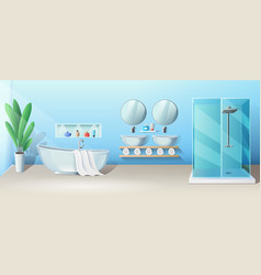Modern bathroom interior with bath and shower vector