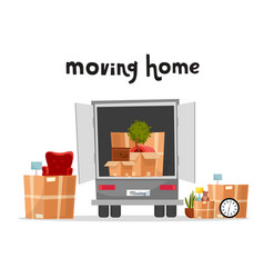 moving truck with boxes back side loading vector image