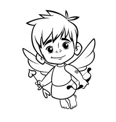 Outlined funny cupid cartoon character vector