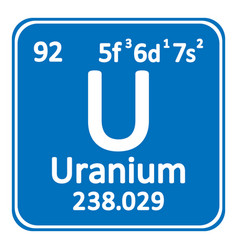 Periodic table element uranium icon vector