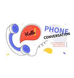 phone conversation - modern colorful flat design vector image