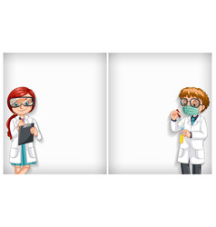 Plain background with two doctors in lab vector