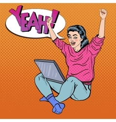 Pop Art Excited Woman with Laptop and Hands Up vector image