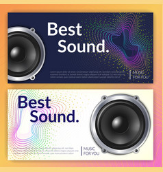 realistic audio system banners vector image