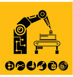 Robotic arm in manufacturing process vector